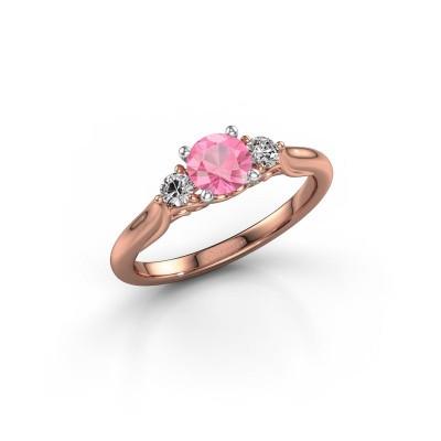 Foto van Verlovingsring Laurian RND 585 rosé goud roze saffier 5 mm
