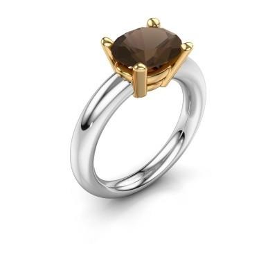Ring Janiece 585 witgoud rookkwarts 10x8 mm