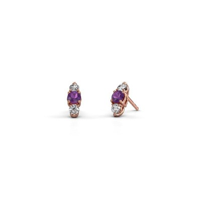 Picture of Earrings Amie 375 rose gold amethyst 4 mm