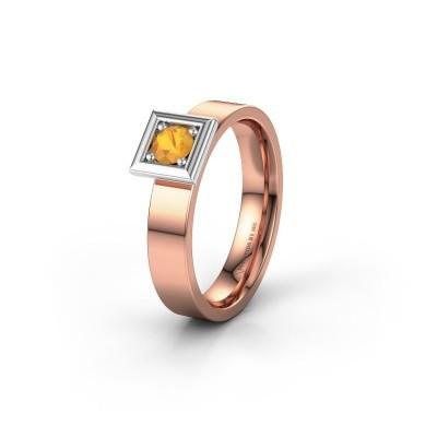 Trouwring WH2112L14A 585 rosé goud citrien ±4x1.7 mm