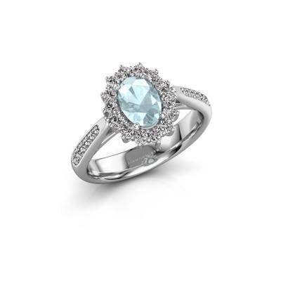 Engagement ring Margien 2 585 white gold aquamarine 7x5 mm