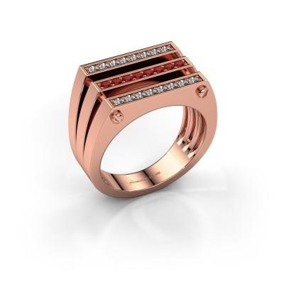 Heren ring Jauke 585 rosé goud robijn 1.7 mm