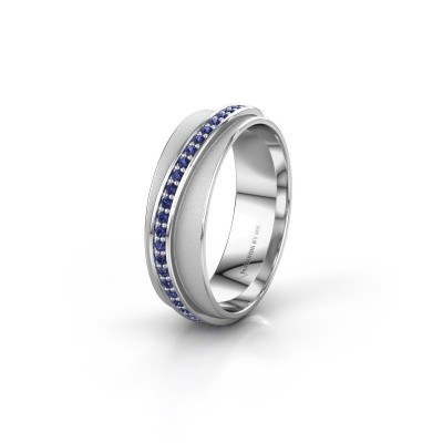 Huwelijksring WH2126L 925 zilver saffier ±6x1.7 mm