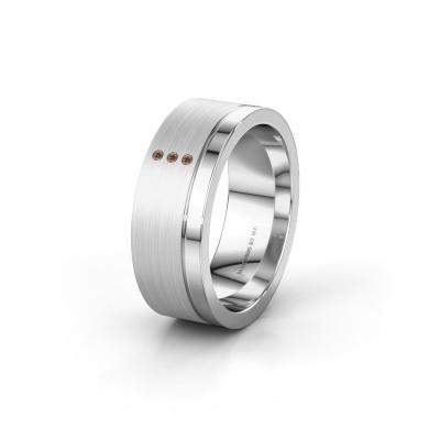 Foto van Trouwring WH0325L17APM 925 zilver bruine diamant ±7x1.7 mm