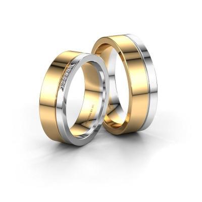 Foto van Trouwringen set WH03336L16A ±6x1.7 mm 14 Carat goud diamant 0.005 crt