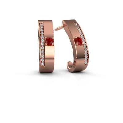 Oorbellen Vick1 375 rosé goud robijn 2.4 mm