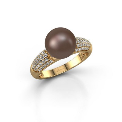 Foto van Ring Anisa 585 goud bruine parel 9 mm