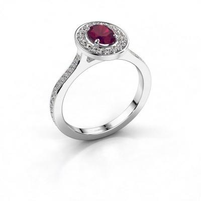 Ring Madelon 2 585 witgoud rhodoliet 7x5 mm