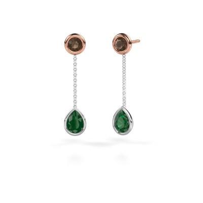 Oorhangers Ladawn 585 witgoud smaragd 7x5 mm