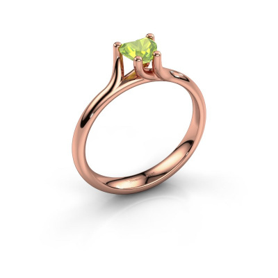 Engagement ring Dewi Heart 585 rose gold peridot 5 mm