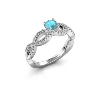 Verlovingsring Hanneke 950 platina blauw topaas 4.7 mm