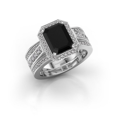 Foto van Ring Dodie 3 925 zilver zwarte diamant 3.99 crt