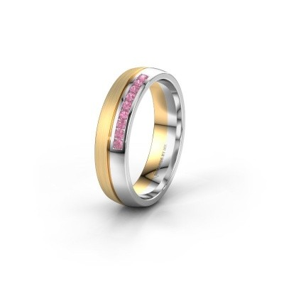 Wedding ring WH0209L25APM 585 gold pink sapphire ±0.20x0.07 in