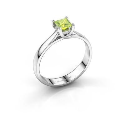 Engagement ring Mia Square 950 platinum peridot 4 mm