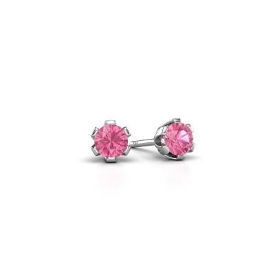 Foto van Oorstekers Julia 950 platina roze saffier 4 mm