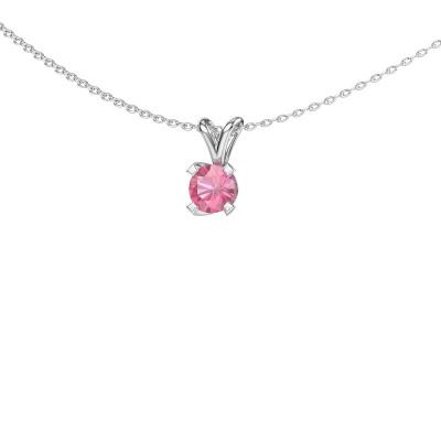 Hanger Eva 925 zilver roze saffier 5 mm