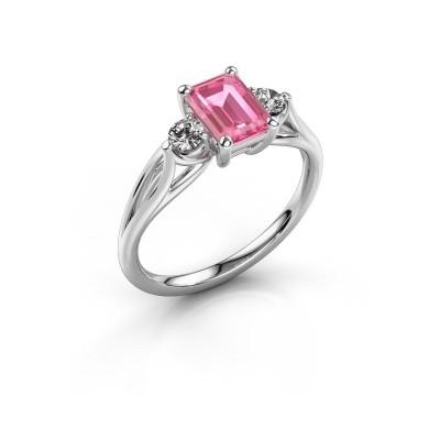 Verlovingsring Amie EME 950 platina roze saffier 7x5 mm