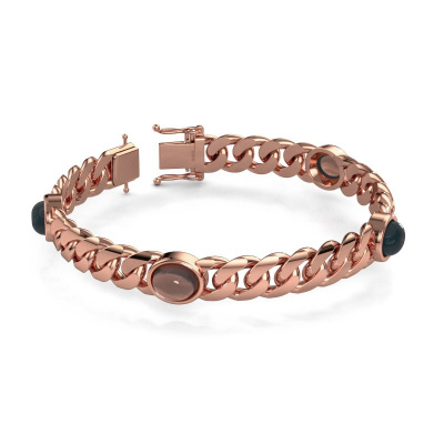 Picture of Link bracelet Corinne 10mm 585 rose gold smokey quartz 10x8 mm