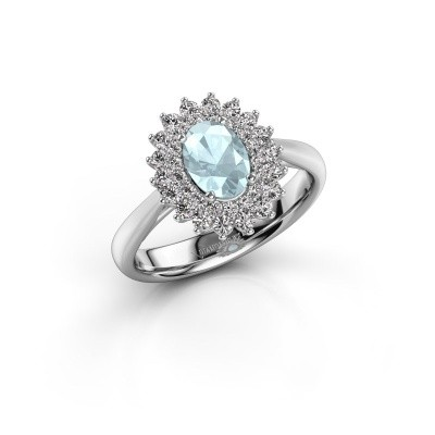 Engagement ring Alina 1 585 white gold aquamarine 7x5 mm