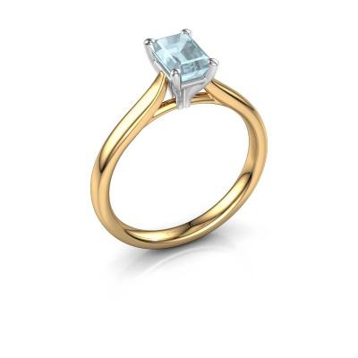 Verlovingsring Mignon eme 1 585 goud aquamarijn 6.5x4.5 mm