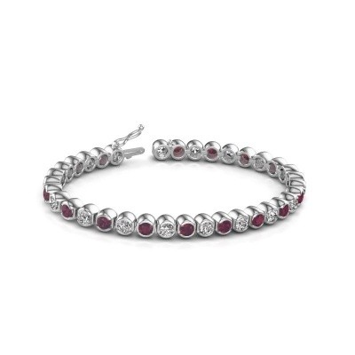 Tennis bracelet Bianca 585 white gold rhodolite 4 mm