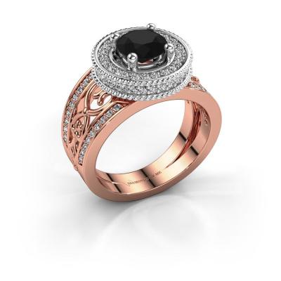Ring Joy 585 rosé goud zwarte diamant 1.896 crt
