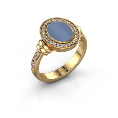 Zegelring Frido F 585 goud Licht blauwe lagensteen 10x8 mm