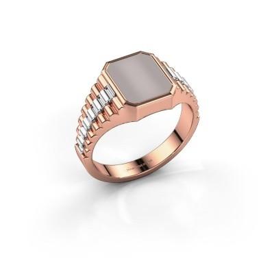 Foto van Rolex stijl ring Brent 1 585 rosé goud rode lagensteen 10x8 mm