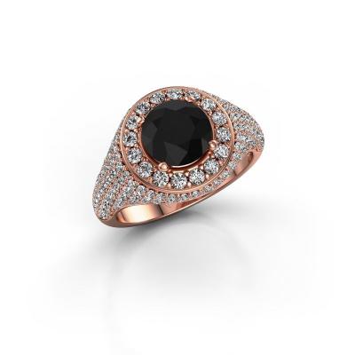 Foto van Ring Dayle 585 rosé goud zwarte diamant 2.963 crt