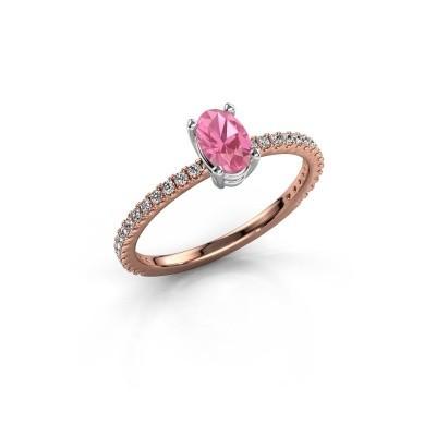 Foto van Verlovingsring Lynelle 2 585 rosé goud roze saffier 6x4 mm