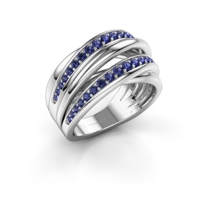 Foto van Ring Marylouise 2 585 witgoud saffier 1.2 mm