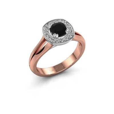 Foto van Ring Carolina 1 585 rosé goud zwarte diamant 0.76 crt