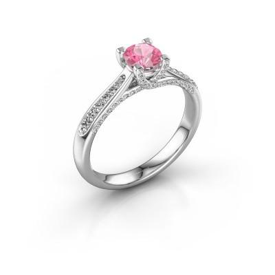 Verlovingsring Mia 3 950 platina roze saffier 5 mm