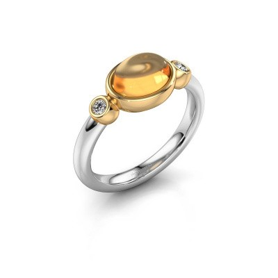 Ring Liane 585 witgoud citrien 8x6 mm