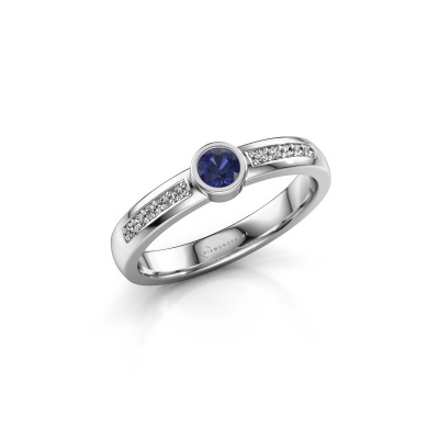 Engagement ring Ise 2 585 white gold sapphire 3.7 mm