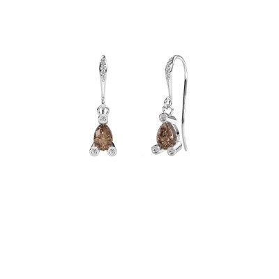 Drop earrings Bunny 2 375 white gold brown diamond 1.375 crt