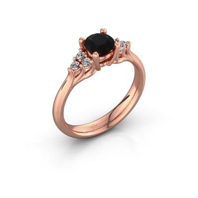 Foto van Verlovingsring Monika RND 375 rosé goud zwarte diamant 0.93 crt