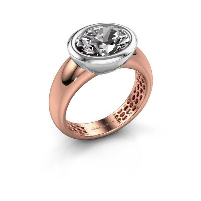 Bague Evelyne 585 or rose zircone 10x8 mm