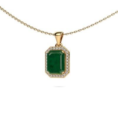 Ketting Dodie 375 goud smaragd 9x7 mm