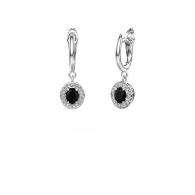 Drop earrings Nakita 950 platinum black diamond 1.02 crt