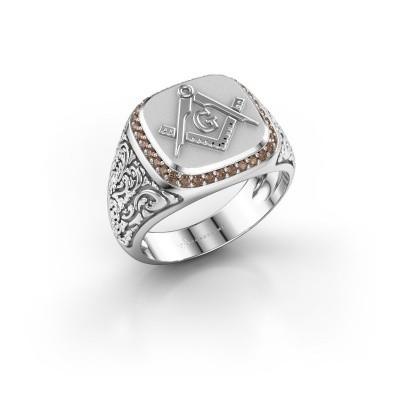Foto van Herenring Hugo 925 zilver bruine diamant 0.255 crt