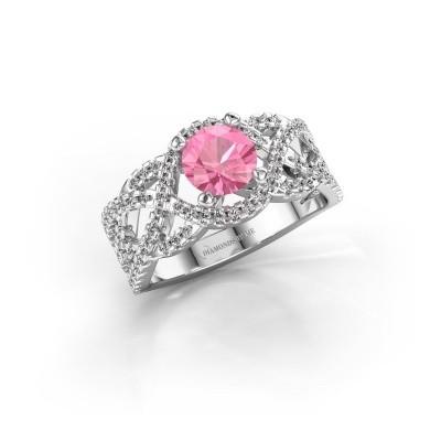 Foto van Verlovingsring Jeni 925 zilver roze saffier 6.5 mm