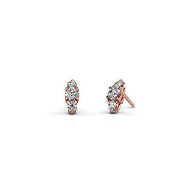 Foto van Oorbellen Amie 375 rosé goud diamant 0.80 crt