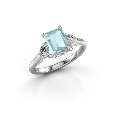 Picture of Engagement ring Laurian EME 950 platinum aquamarine 8x6 mm