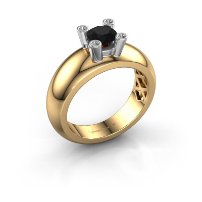 Ring Cornelia Round 585 Gold Schwarz Diamant 0.60 crt