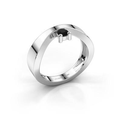 Bague de fiançailles Elisabeth 375 or blanc diamant noir 0.18 crt
