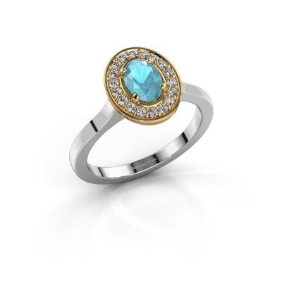 Foto van Ring Madelon 1 585 witgoud blauw topaas 7x5 mm