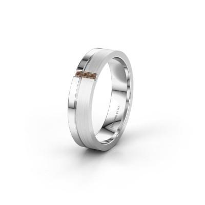 Wedding ring WH0157L14XPM 950 platinum brown diamond ±0.18x0.05 in