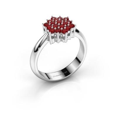 Ring Bente 925 zilver robijn 1.9 mm