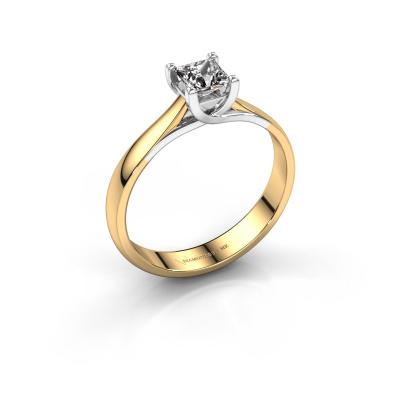 Bague de fiançailles Mia Square 585 or jaune diamant synthétique 0.40 crt